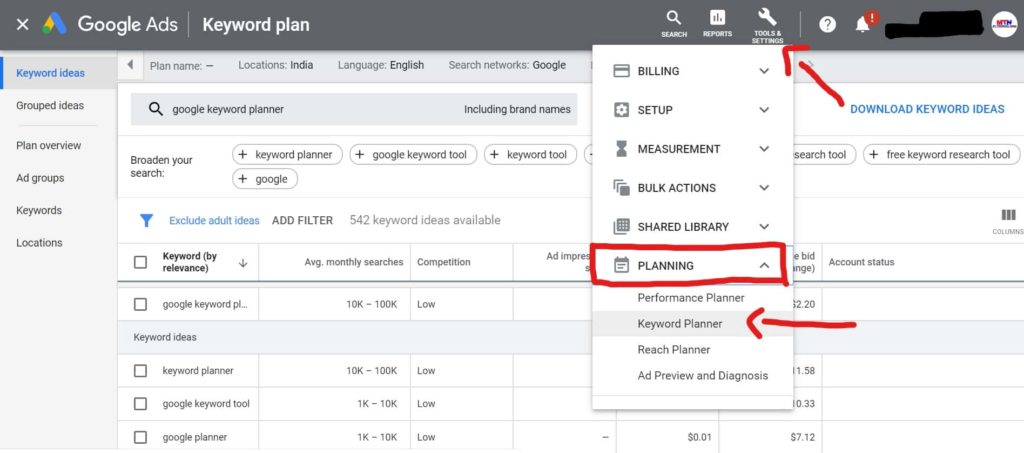 How to use Google Keyword Planner Tool. | Free Keywords Ideas.